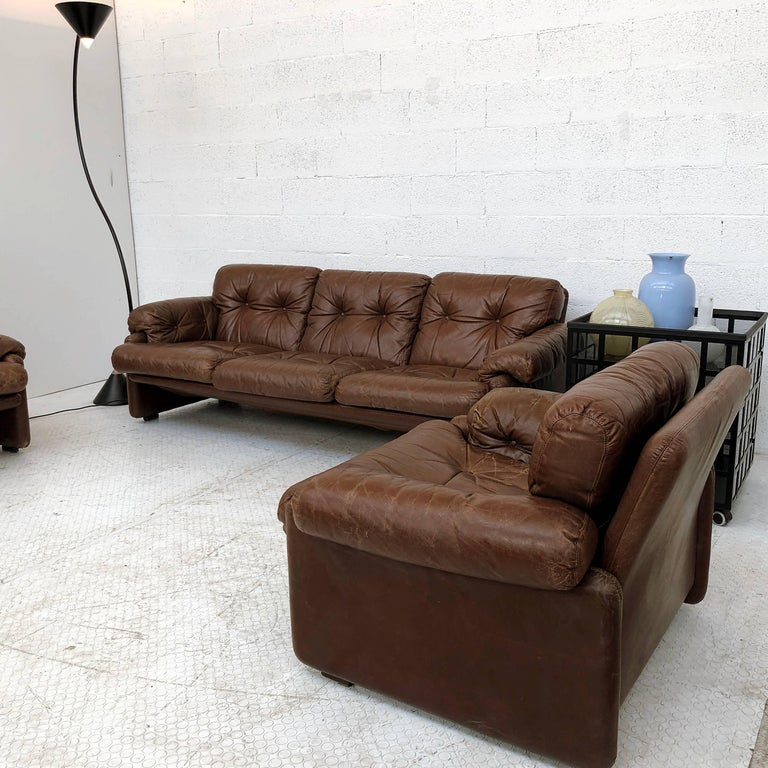 Afra & Tobia Scarpa Brown Leather Coronado Living Room Set for C&B Italia, 1969  For Sale 6