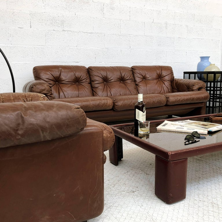 Afra & Tobia Scarpa Brown Leather Coronado Living Room Set for C&B Italia, 1969  For Sale 7