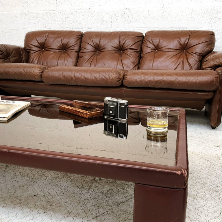 Afra & Tobia Scarpa Brown Leather Coronado Living Room Set for C&B Italia, 1969  For Sale 8