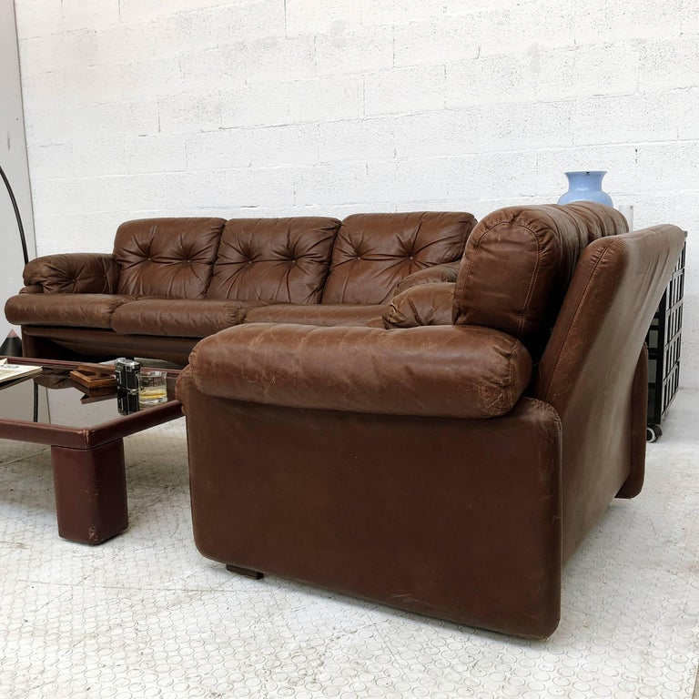 Afra & Tobia Scarpa Brown Leather Coronado Living Room Set for C&B Italia, 1969  For Sale 9