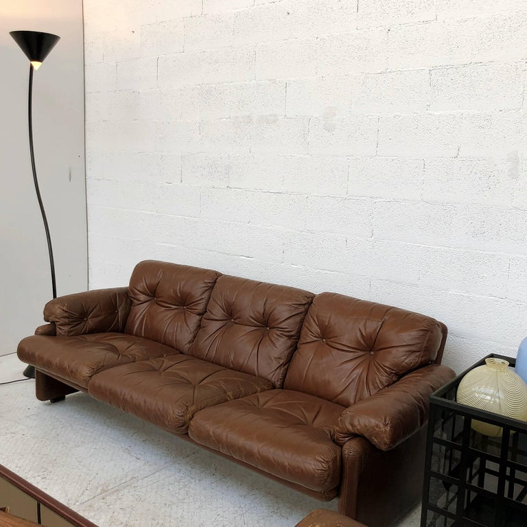 Afra & Tobia Scarpa Brown Leather Coronado Living Room Set for C&B Italia, 1969  For Sale 10