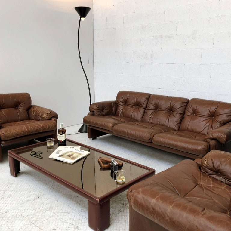 Afra & Tobia Scarpa Brown Leather Coronado Living Room Set for C&B Italia, 1969  For Sale 11