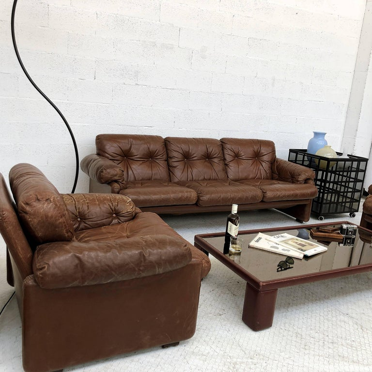 Afra & Tobia Scarpa Brown Leather Coronado Living Room Set for C&B Italia, 1969  For Sale 12
