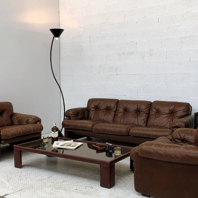 Afra & Tobia Scarpa Brown Leather Coronado Living Room Set for C&B Italia, 1969  For Sale 13