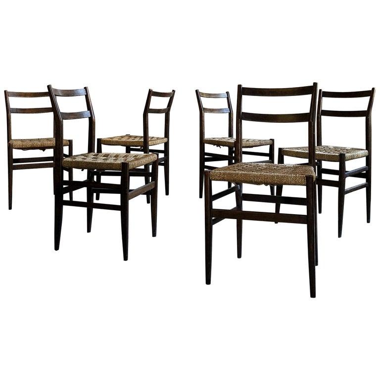 "Gio Ponti Midcentury Rope ""Leggera"" Dining Chair for Cassina, 1950s, Set of Six"