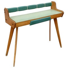 Midcentury Light Green and Brown Scandinavian Beechwood Console, 1960s