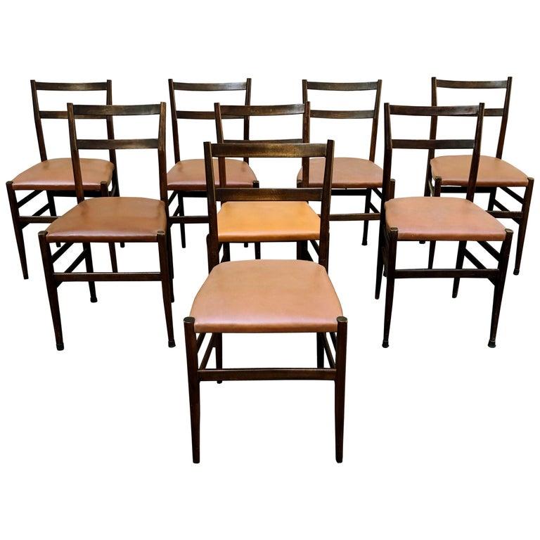 "Gio Ponti Midcentury Skai ""Leggera"" Dining Chairs for Cassina, Set of Eight"