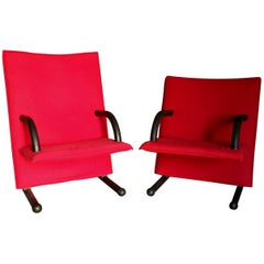 Pair of Burkhard Vogtherr Post-Modern Red T-Line Lounge Chairs for Arflex, 1984