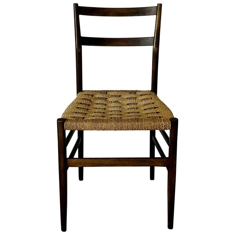 "Gio Ponti Midcentury Rope ""Leggera"" Dining Chair for Cassina, 1950s, Set of 8"