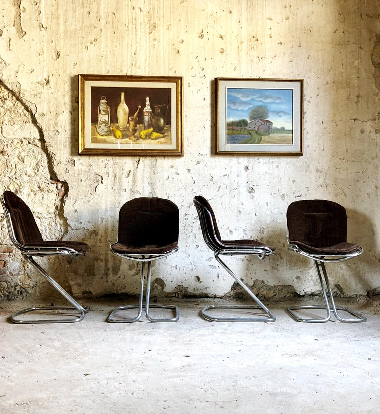 Set of 8 Space Age dining chairs by Gastone Rinaldi for RIMA. Chrome structure and velvet seating. Perfect condition.