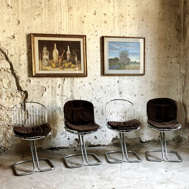 Italian Gastone Rinaldi Space Age Chrome & Velvet Dining Room Chairs, 1970s, Set of 8 For Sale