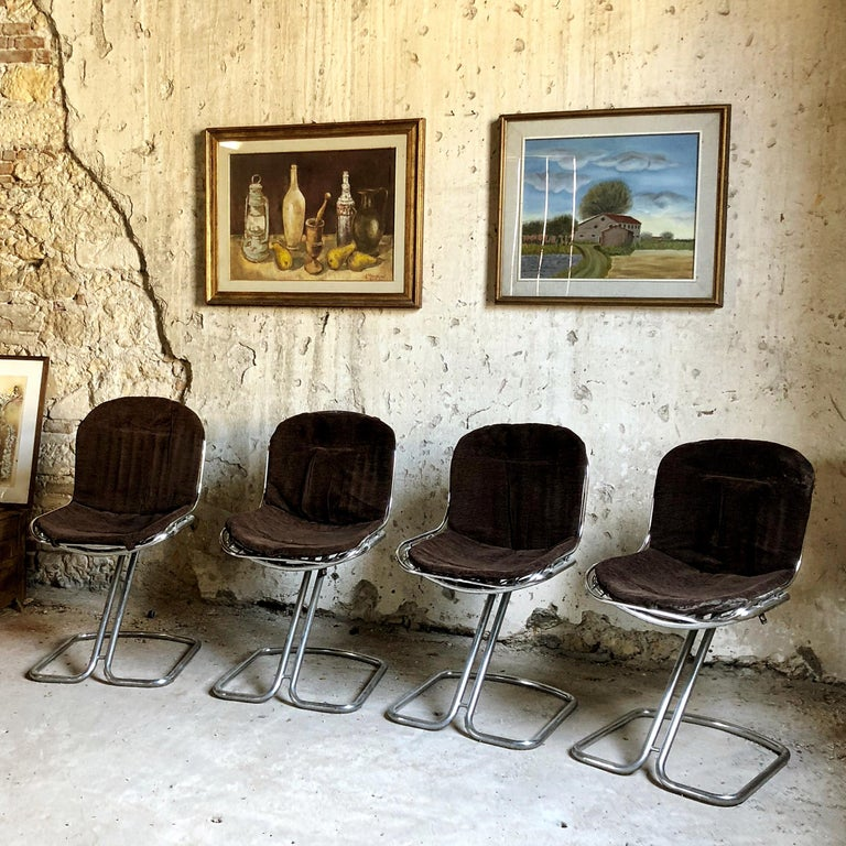 Late 20th Century Gastone Rinaldi Space Age Chrome & Velvet Dining Room Chairs, 1970s, Set of 8 For Sale