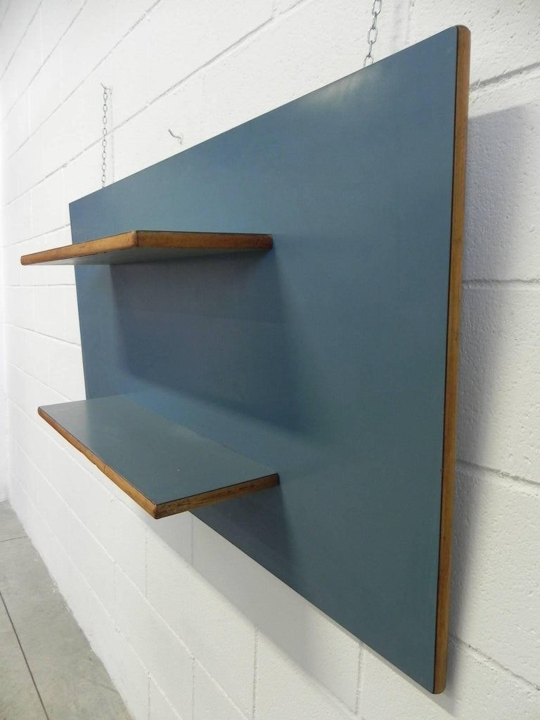 Mid-Century Modern Midcentury Oak and Green Formica Italian Wall Bookcase Attributed to Gio Ponti For Sale