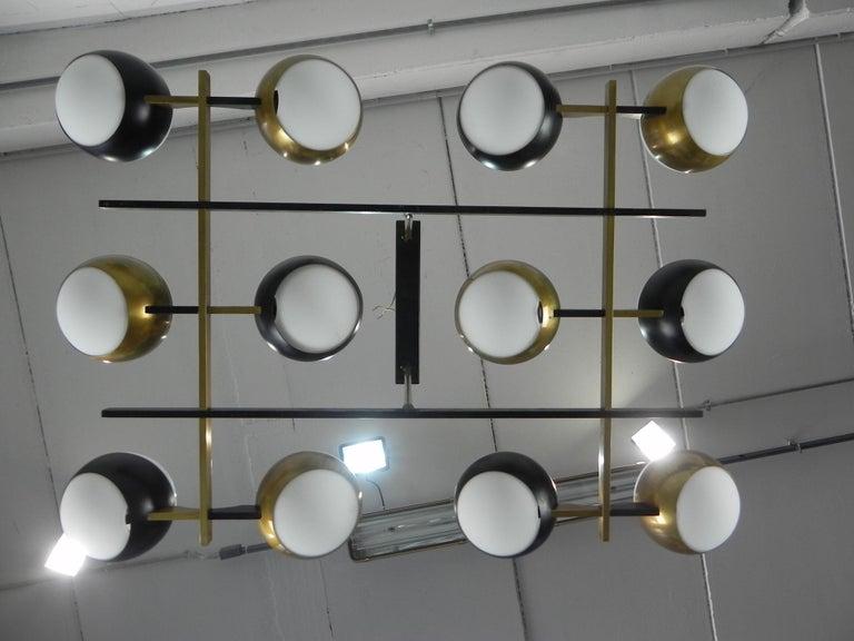 Italian Rare Stilnovo Twelve-Branch Rectangular Brass Chandelier, Italy, 1950s For Sale