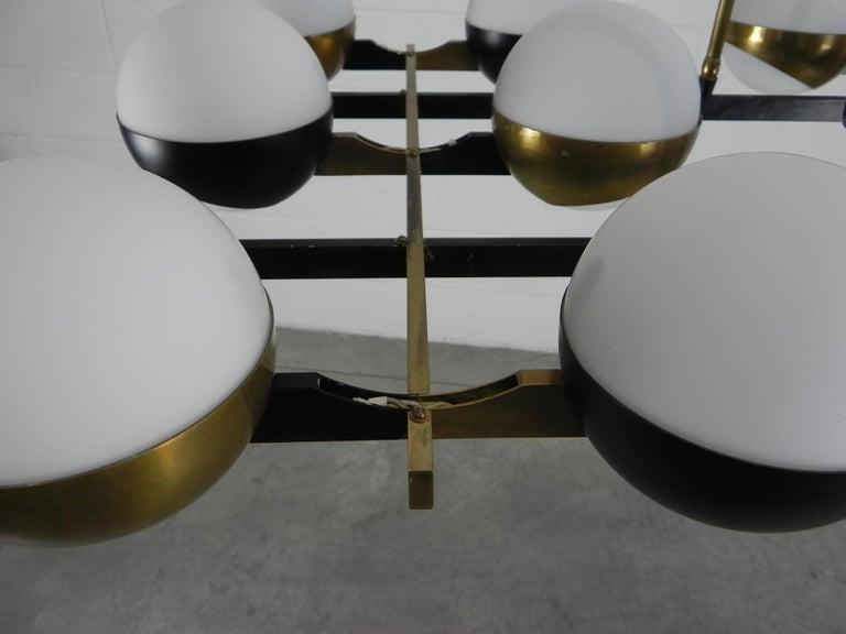 Rare Stilnovo Twelve-Branch Rectangular Brass Chandelier, Italy, 1950s For Sale 6