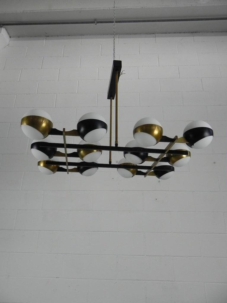 Rare Stilnovo Twelve-Branch Rectangular Brass Chandelier, Italy, 1950s For Sale 11