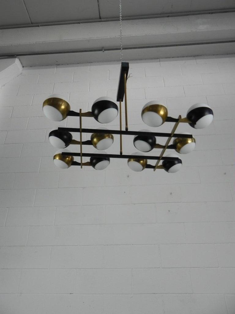 Rare Stilnovo Twelve-Branch Rectangular Brass Chandelier, Italy, 1950s For Sale 12