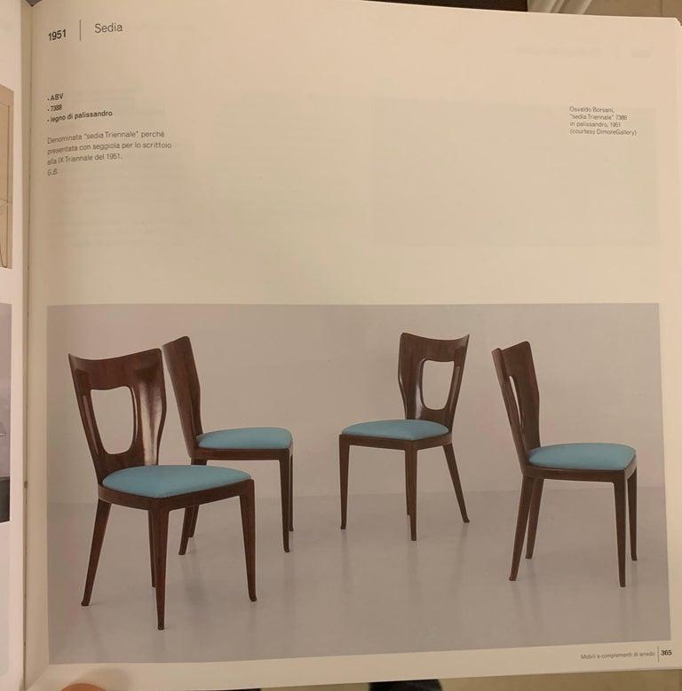 Set of 12 Italian Modern Mahogany Dining Chairs, Osvaldo Borsani For Sale 15