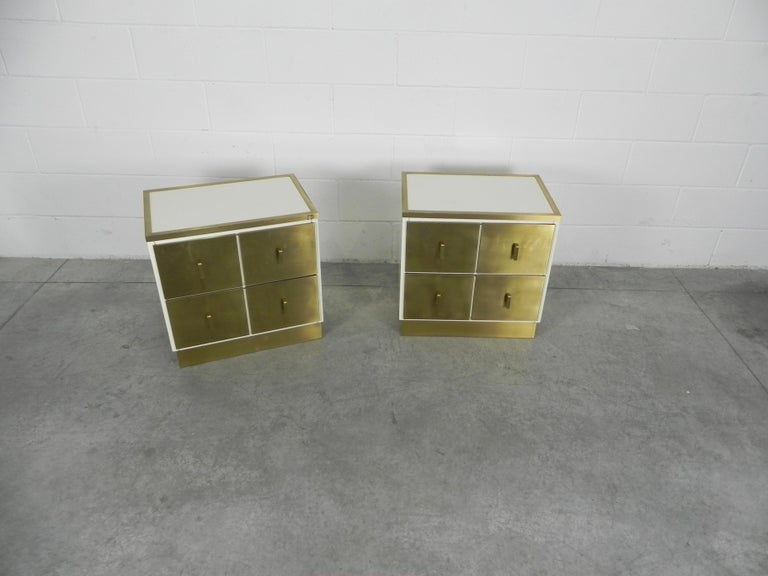 Frigerio bedside tables nightstands Italian brass and wood, 1950.