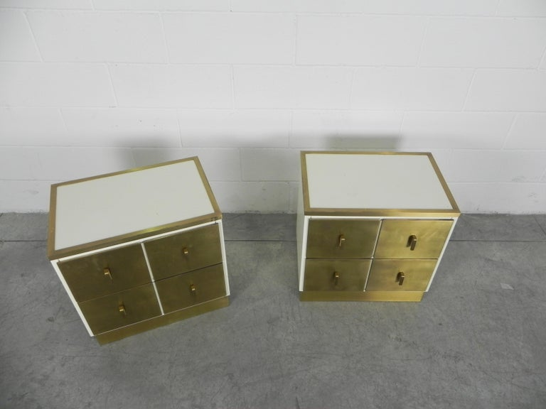 Mid-Century Modern Frigerio Bedside Tables Nightstands Italian Brass and Wood, 1950 For Sale