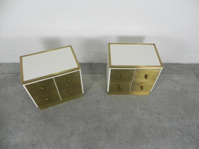 Ebonized Frigerio Bedside Tables Nightstands Italian Brass and Wood, 1950 For Sale