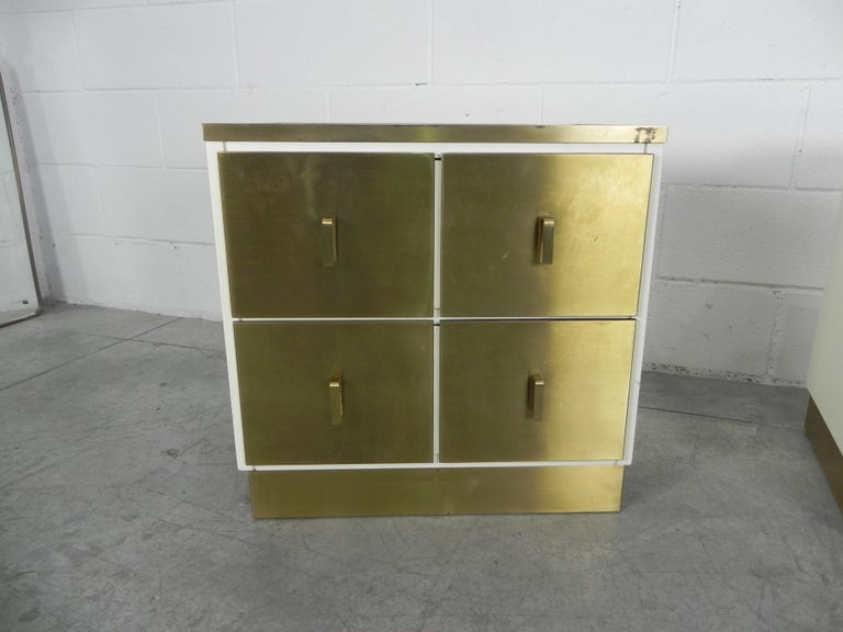 Frigerio Bedside Tables Nightstands Italian Brass and Wood, 1950 In Good Condition For Sale In Rovereta, SM