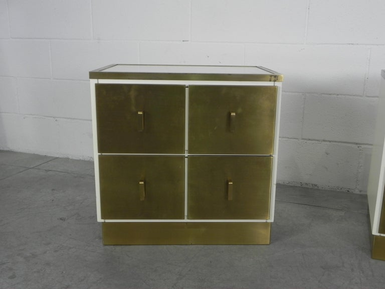 20th Century Frigerio Bedside Tables Nightstands Italian Brass and Wood, 1950 For Sale