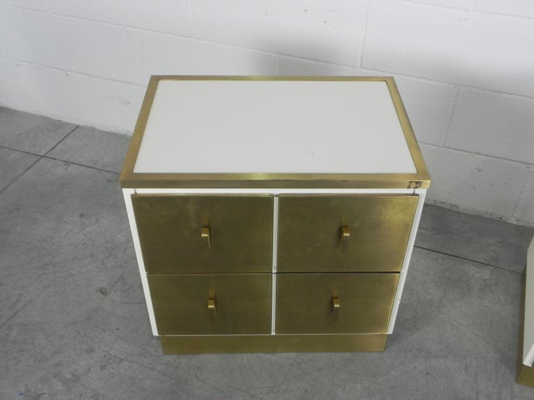 Frigerio Bedside Tables Nightstands Italian Brass and Wood, 1950 For Sale 1