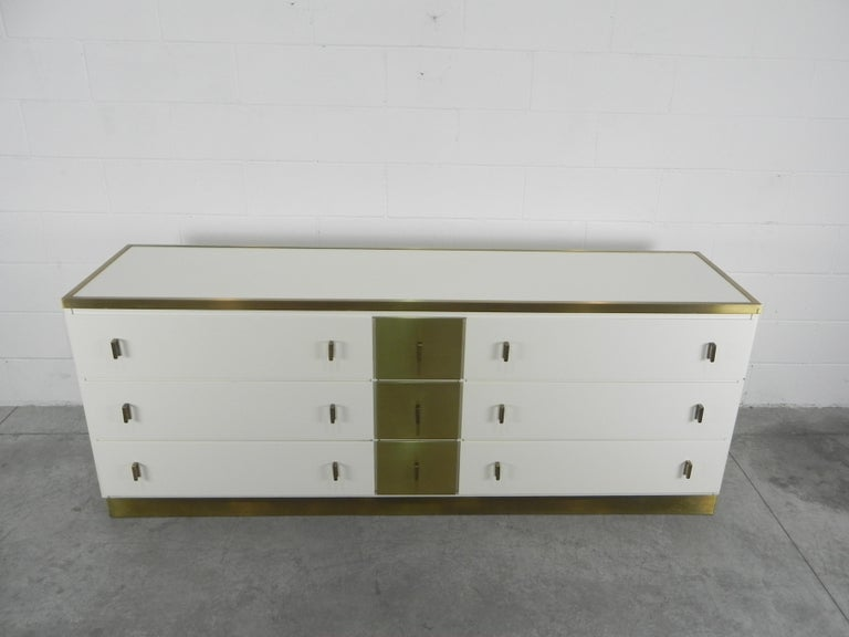 Frigerio sideboard Italian brass and wood, 1950.