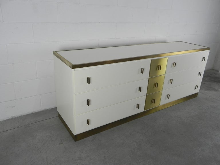 Mid-Century Modern Frigerio Sideboard Italian Brass and Wood, 1950 For Sale