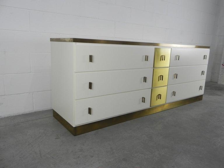 Ebonized Frigerio Sideboard Italian Brass and Wood, 1950 For Sale