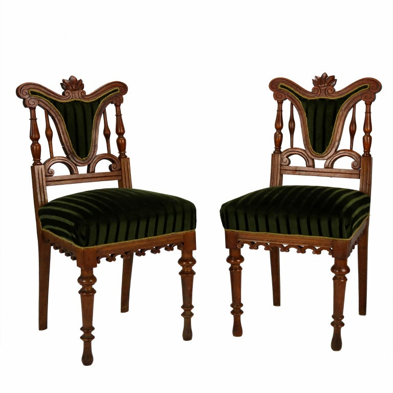 Pair of Carved Side Chairs, Late 19th Century For Sale