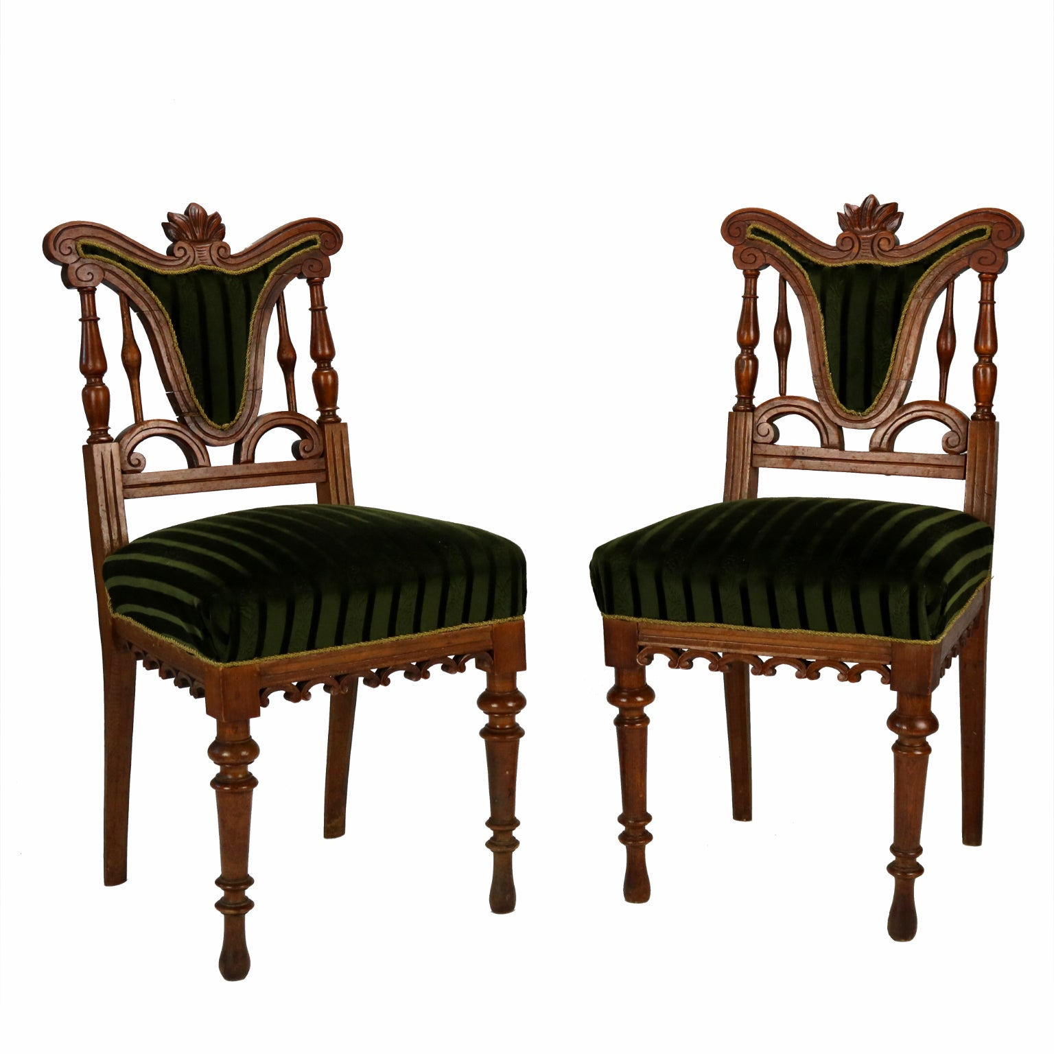 Pair of Carved Side Chairs, Late 19th Century