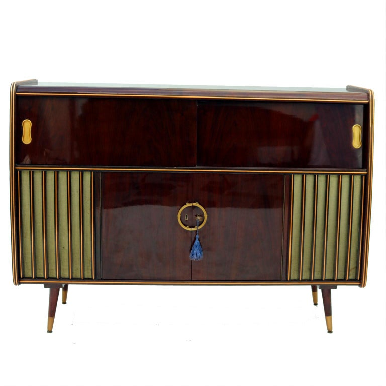 Mid Century Modern Phonograph Stereo Console And Bar Cabinet 1950s For Sale