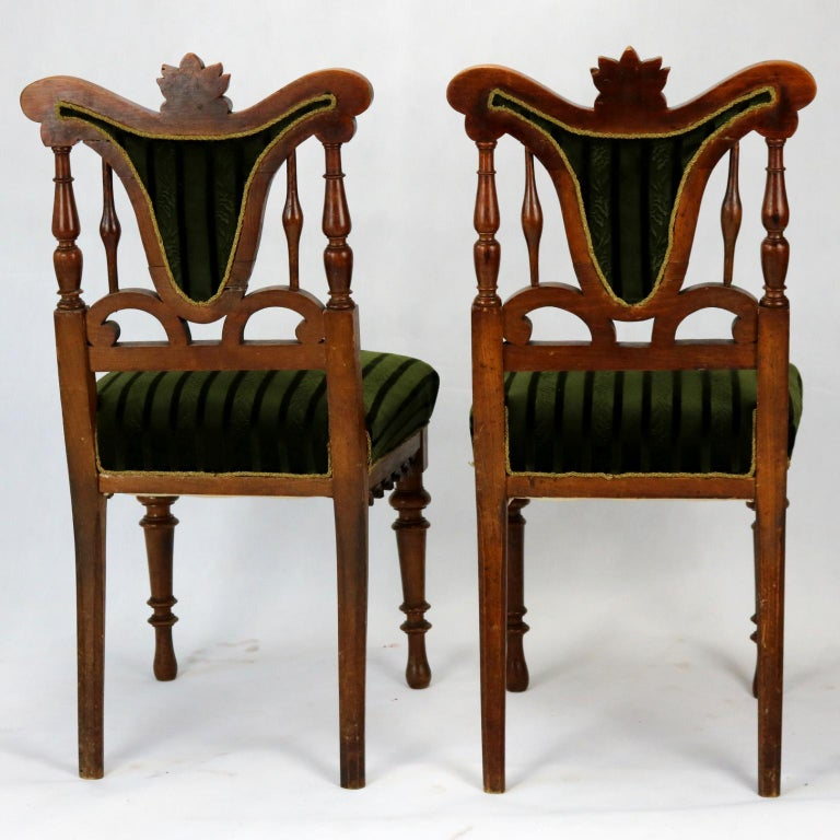 Pair of Carved Side Chairs, Late 19th Century For Sale 1