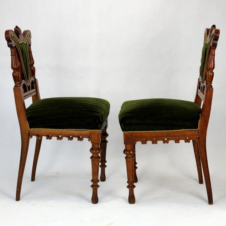 Austrian Pair of Carved Side Chairs, Late 19th Century For Sale