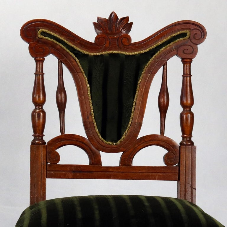 Art Nouveau Pair of Carved Side Chairs, Late 19th Century For Sale
