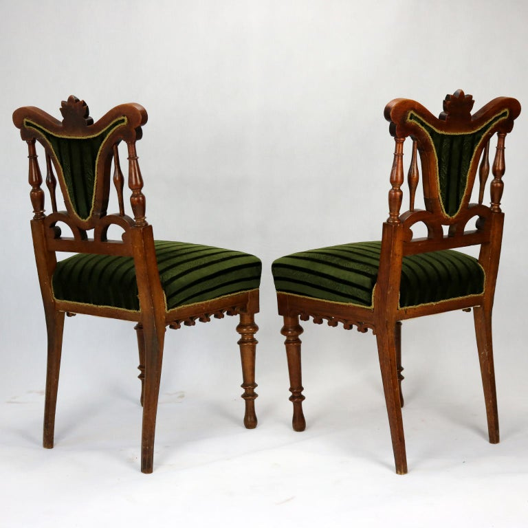 Pair of Carved Side Chairs, Late 19th Century In Good Condition For Sale In Lucenec, SK