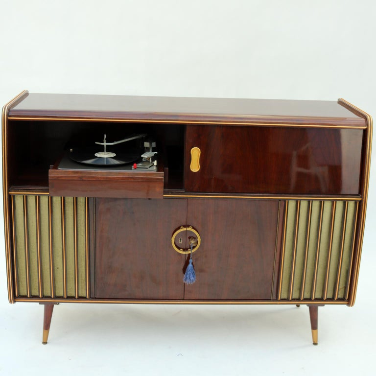 mid century modern phonograph stereo console and bar cabinet 1950s