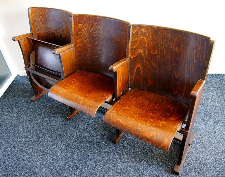 Czech Row of Three Cinema Seats by Thonet, 1950s For Sale