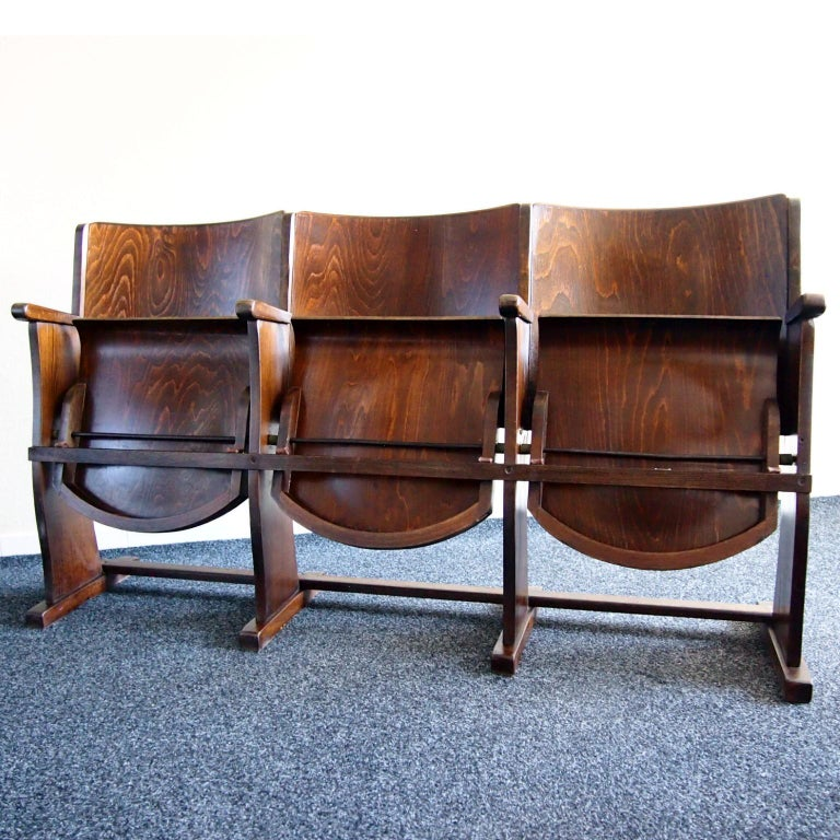Row of three cinema seats originally from the cinema in Czechoslovakia produced by Thonet. Nowadays it can be a stunning addition to any interior. Very good, original condition with signs of age what is giving it the originality.