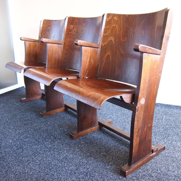 Mid-Century Modern Row of Three Cinema Seats by Thonet, 1950s For Sale