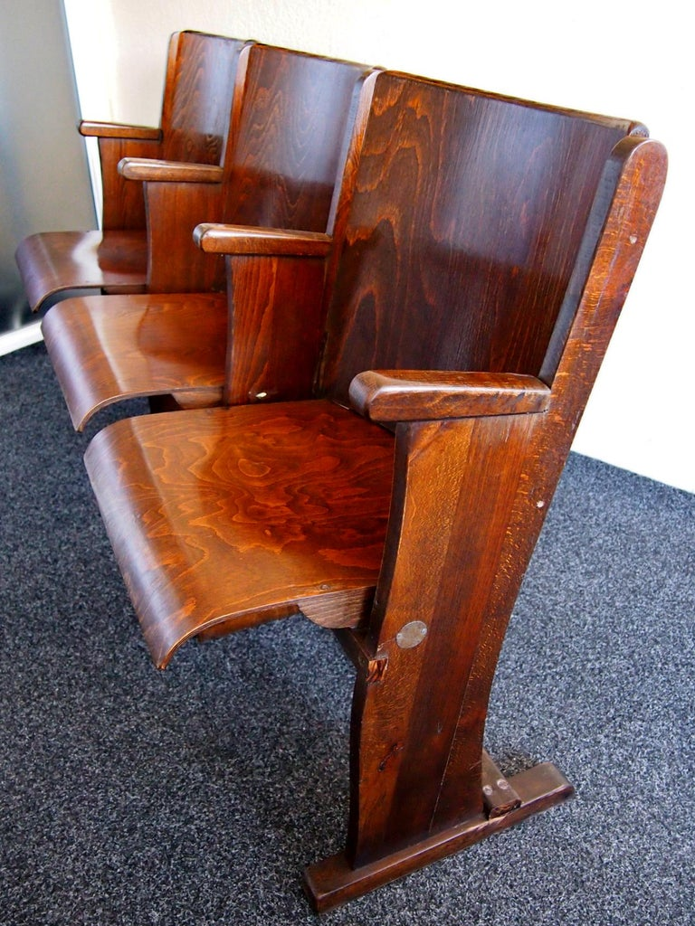 Row of Three Cinema Seats by Thonet, 1950s In Good Condition For Sale In Lucenec, SK