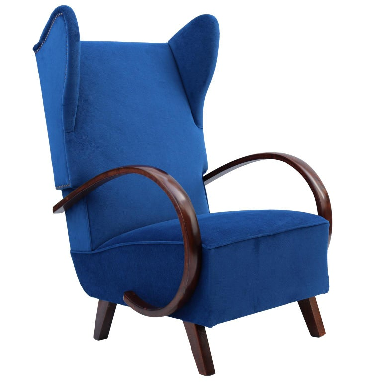 Rare Wingback Chair by Jindrich Halabala for UP Zavody, 1930s