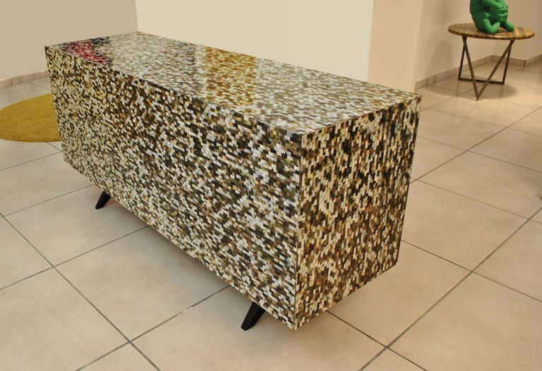 Mother-of-Pearl 'Madrid' Mother of Pearl Sideboard Table with Grey Mirror Finish Doors For Sale