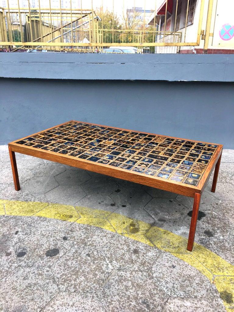 Scandinavian Modern Midcentury Danish Large Teak Wood and Ceramik Coffee Table/Bench, 1960s For Sale