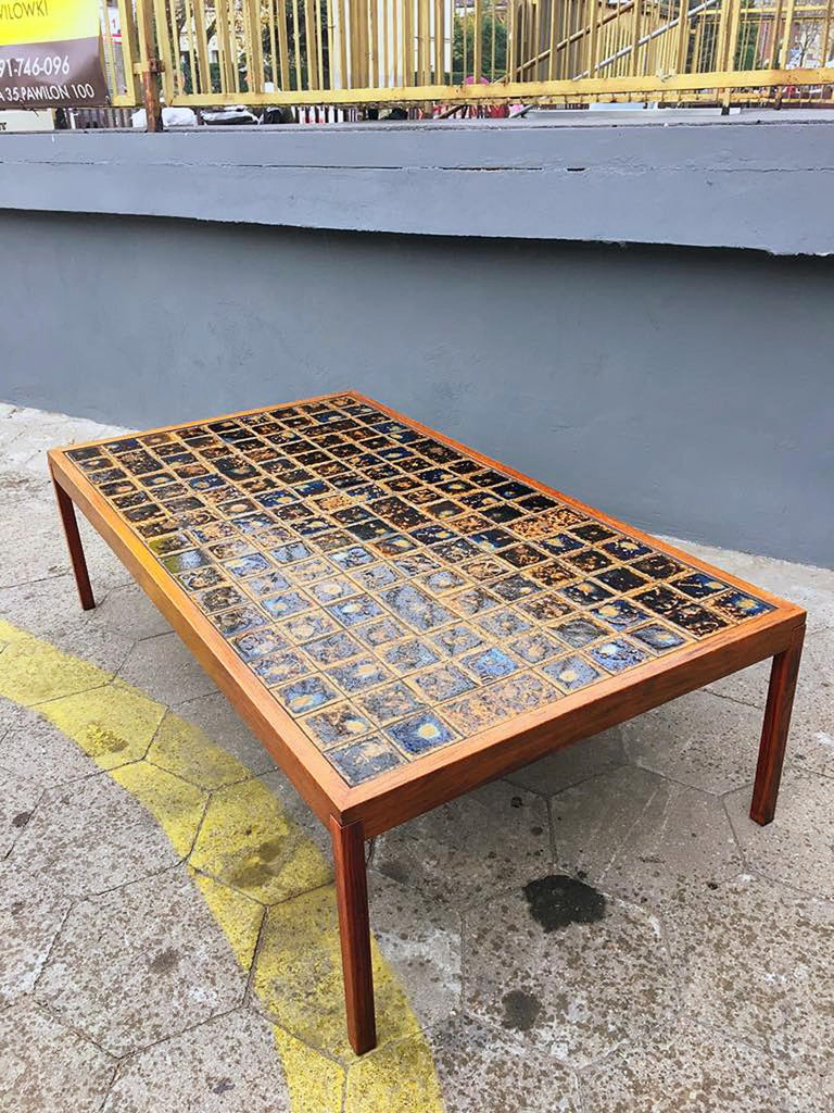 Hand-Crafted Midcentury Danish Large Teak Wood and Ceramik Coffee Table/Bench, 1960s For Sale
