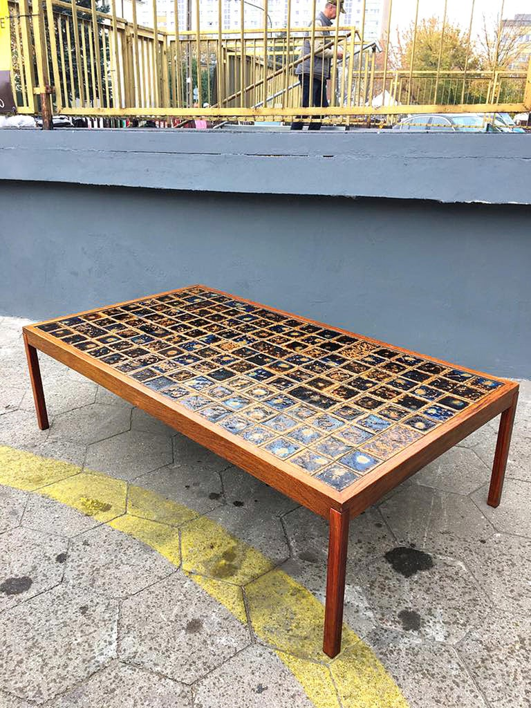 Mid-20th Century Midcentury Danish Large Teak Wood and Ceramik Coffee Table/Bench, 1960s For Sale