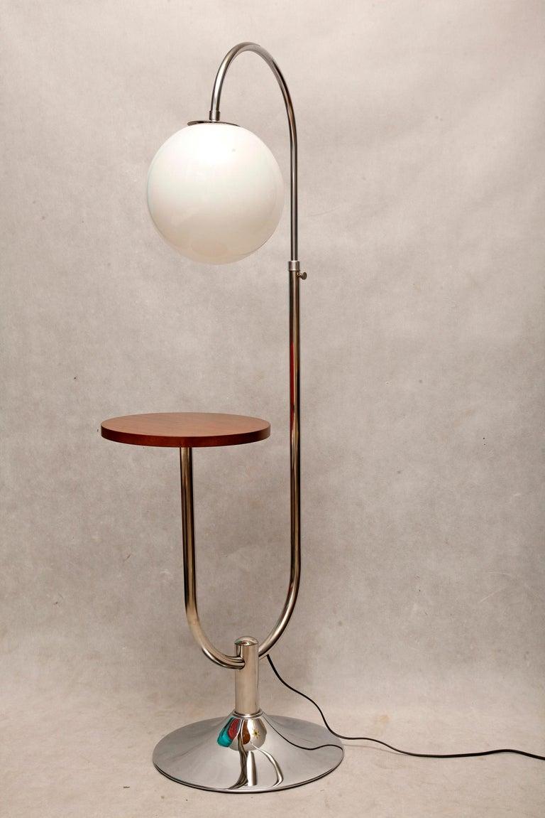 Czech Bauhaus Chromed Floor Lamp by Robert Slezak, 1930s For Sale