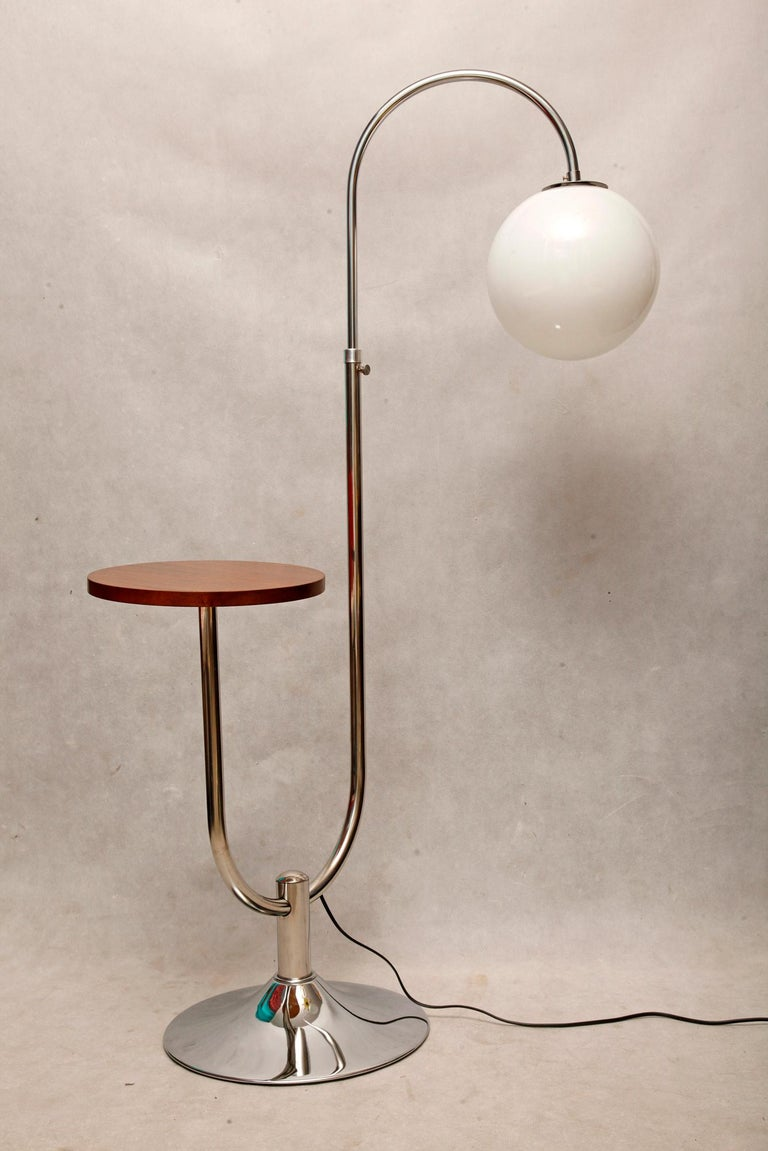 Hand-Crafted Bauhaus Chromed Floor Lamp by Robert Slezak, 1930s For Sale